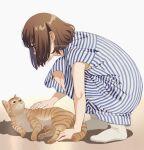 1girl artist_name bob_cut brown_hair cat dress hair_over_face mattaku_mousuke original petting profile short_hair squatting striped striped_dress watermark