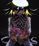 1boy absurdres artist_logo artist_name bangs black_background black_hair black_scarf blonde_hair blue_flower bouquet chain checkered checkered_neckwear checkered_scarf commentary cowboy_shot danganronpa_(series) danganronpa_v3:_killing_harmony eyebrows_visible_through_hair flower grey_jacket grey_pants hair_between_eyes highres holding holding_flower jacket light long_sleeves looking_at_viewer male_focus multicolored_hair open_mouth orange_flower ouma_kokichi pants pastahands pink_flower red_flower scarf shiny shiny_hair sitting smile solo two-tone_hair white_jacket white_scarf