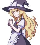 1girl absurdres apron black_dress blonde_hair bow braid buttons dress flat_chest frilled_dress frills hair_bow hat hat_bow highres kame_(kamepan44231) kirisame_marisa puffy_sleeves short_sleeves side_braid single_braid touhou waist_apron white_bow witch_hat yellow_eyes