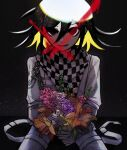 1boy absurdres artist_logo artist_name bangs black_background black_hair black_scarf blonde_hair blood blue_flower bouquet chain checkered checkered_neckwear checkered_scarf commentary cowboy_shot cross danganronpa_(series) danganronpa_v3:_killing_harmony eyebrows_visible_through_hair flower grey_jacket grey_pants hair_between_eyes highres holding holding_flower jacket light long_sleeves looking_at_viewer male_focus multicolored_hair open_mouth orange_flower pants pastahands pink_flower red_flower scarf shiny shiny_hair sitting smile solo two-tone_hair white_jacket white_scarf
