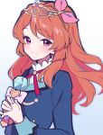 1girl absurdres aikatsu!_(series) bangs blue_background blue_jacket bow closed_mouth commentary_request eyebrows_visible_through_hair gradient gradient_background hair_bow hands_up heart highres holding holding_wand jacket light_blush long_hair long_sleeves looking_at_viewer neck_ribbon oozora_akari orange_hair own_hands_together pink_bow red_neckwear ribbon smile solo tiara uhouhogorigori upper_body violet_eyes wand white_background