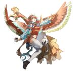 1girl absurdres aqua_hair bangs beret bird_tail bird_wings chef_hat colored_tips crossover detached_sleeves earrings feather_earrings feathers flying full_body gen_2_pokemon hat highres ho-oh holding holding_poke_ball hololive hololive_english jewelry legendary_pokemon midriff miniskirt multicolored multicolored_hair multicolored_tail multicolored_wings navel open_mouth orange_hair phoenix_wings pink_eyes poke_ball poke_ball_(basic) pokemon pokemon_(creature) pokemon_(game) quasarcake shadow shoes simple_background skirt sneakers streaked_hair suspender_skirt suspenders tail takanashi_kiara thigh-highs v virtual_youtuber white_background white_legwear wings