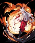 1girl absurdres belt black_background black_belt black_footwear boots bow breasts collar_up collared_shirt commentary explosion fire flaming_hand fujiwara_no_mokou full_body hair_between_eyes hair_bow highres long_hair looking_at_viewer medium_breasts nail_polish ofuda open_mouth pants red_eyes red_nails red_pants shirt shirt_tucked_in short_sleeves silver_hair simple_background solo straight_hair suspenders torn_clothes torn_shirt touhou v-shaped_eyebrows white_bow white_shirt yongzhe_mei_hong