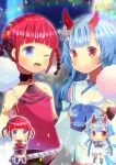 2girls :o ;d asukagawa_chise bangs bare_shoulders belt black_collar black_footwear black_skirt blue_archive blue_eyes blue_hair braid camisole chibi chise_(blue_archive) closed_mouth collar collarbone cotton_candy crossover detached_sleeves dress eyebrows_visible_through_hair food gridman_universe hands_on_hips holding holding_food horns kou_hiyoyo long_hair long_sleeves mole mole_under_eye multiple_girls one_eye_closed open_mouth parted_lips red_camisole red_eyes red_legwear redhead sailor_collar sailor_dress shoes skirt sleeveless sleeveless_dress sleeves_past_wrists smile ssss.dynazenon studded_belt thigh-highs twin_braids twintails white_dress white_sailor_collar white_sleeves