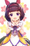 1girl :d animal_ears bangs blush brown_hair commentary_request dress eyebrows_visible_through_hair floral_background hair_ornament hairband hairclip hands_up highres horse_ears horse_girl horse_tail looking_at_viewer meyamu nishino_flower_(umamusume) open_mouth red_hairband sleeveless sleeveless_dress smile solo tail twitter_username umamusume violet_eyes white_background wrist_cuffs x_hair_ornament yellow_dress
