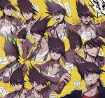 aoki_(fumomo) bangs black_jacket closed_eyes collarbone commentary_request crying crying_with_eyes_open danganronpa_(series) danganronpa_v3:_killing_harmony expressions facial_hair goatee grey_shirt jacket long_sleeves looking_at_viewer male_focus momota_kaito multiple_views open_clothes open_shirt pectorals pink_jacket purple_hair red_shirt scarf shaded_face shirt short_hair smile tearing_up tears teeth translation_request white_shirt yellow_background