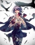 1girl absurdres alice_(sinoalice) bad_id bad_twitter_id bird black_legwear blood blood_on_face blood_splatter bloody_clothes blue_hair character_name collared_shirt crow english_text feathers flower highres holding holding_flower jacket looking_at_viewer npyon3 open_clothes open_jacket red_eyes school_uniform shirt simple_background sinoalice thigh-highs torn_clothes torn_legwear zettai_ryouiki