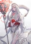 1girl absurdres bad_id bad_twitter_id bridal_gauntlets closed_mouth dress fire flower gradient gradient_background greek_clothes hair_ornament highres holding holding_flower holding_staff light_particles long_hair looking_away npyon3 red_flower red_rose rose simple_background sinoalice smile snow_white_(sinoalice) solo staff white_hair