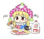 1girl :t american_flag_dress bacon bangs blonde_hair blush_stickers breakfast chibi closed_mouth clownpiece cup eating eyebrows_visible_through_hair fairy_wings food fork hat holding holding_cup holding_fork jester_cap jug long_hair mg_mg milk neck_ruff nibi plate polka_dot purple_headwear red_eyes short_sleeves simple_background solo star_(symbol) star_print sunny_side_up_egg table touhou upper_body white_background wings