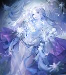 1girl absurdres blue_eyes blue_theme breasts character_request claw_(rjtd7274) colored_skin dress flower hand_up highres long_hair looking_at_viewer lying medium_breasts on_back onmyoji parted_lips rose snowflakes solo white_dress white_hair white_skin yuki_onna