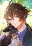 1boy antenna_hair bangs black_gloves black_jacket blurry blurry_background brown_eyes brown_hair collared_shirt commentary_request depth_of_field earrings genshin_impact glasses gloves hair_between_eyes hand_on_own_cheek hand_on_own_face head_rest highres ichibi jacket jewelry long_hair long_sleeves looking_at_viewer male_focus necktie parted_lips shirt solo upper_body white_neckwear white_shirt zhongli_(genshin_impact)