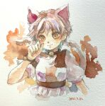 1girl absurdres animal_ears bangs bell bracelet breasts calico cat_ears cat_girl cat_tail dated goutokuji_mike highres jewelry looking_at_viewer multicolored multicolored_clothes multicolored_hair multicolored_tail neck_bell one-hour_drawing_challenge puffy_short_sleeves puffy_sleeves shiroma_(mamiko) short_sleeves simple_background streaked_hair tail touhou traditional_media watercolor_(medium)
