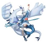 1girl absurdres arm_up bangs blue_hair blue_hoodie blue_tail blunt_bangs crossover eyebrows_visible_through_hair fish_tail full_body gawr_gura gen_2_pokemon hair_ornament highres holding holding_poke_ball holding_polearm holding_weapon hololive hololive_english hood hoodie jumping knee_up legendary_pokemon long_hair lugia multicolored_hair open_mouth poke_ball poke_ball_(basic) pokemon polearm quasarcake shadow shark_girl shark_hair_ornament shark_tail sharp_teeth shoes simple_background smile sneakers streaked_hair tail teeth trident virtual_youtuber weapon white_background white_hair