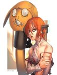 1girl a.b.a bandages blood bloody_clothes blue_eyes guilty_gear guilty_gear_xx key key_in_head looking_at_viewer orange_hair paracelsus redhead short_hair stitched_mouth stitches