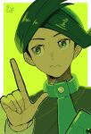 1boy black_hair border buttons closed_mouth commentary_request frontier_brain frown green_eyes green_hair green_neckwear half-closed_eyes hand_up index_finger_raised long_sleeves male_focus multicolored_hair necktie omyo_(myomyomyo22) outside_border pokemon pokemon_(game) pokemon_dppt pokemon_platinum solo thorton_(pokemon) two-tone_hair upper_body white_border