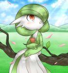 1girl bangs blue_sky blurry blurry_background blush bob_cut branch clouds colored_skin commentary_request dappled_sunlight day flat_chest gardevoir gen_3_pokemon green_hair green_skin hair_over_one_eye hands_together happy in_tree light_rays looking_up lotosu mountainous_horizon multicolored multicolored_skin open_mouth outdoors partial_commentary petals pokemon pokemon_(creature) red_eyes shiny shiny_hair short_hair sitting sky smile solo sunlight tree two-tone_skin white_skin