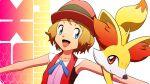 1girl :d bangs bare_arms blonde_hair blue_eyes blue_ribbon collarbone commentary_request copyright_name eyelashes fennekin gen_6_pokemon hat highres kuroki_shigewo looking_to_the_side neck_ribbon open_mouth outstretched_arms pokemon pokemon_(anime) pokemon_(creature) pokemon_xy_(anime) ribbon serena_(pokemon) short_hair sleeveless smile starter_pokemon tongue