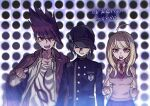 1girl 2boys ahoge akamatsu_kaede aoki_(fumomo) backpack bag bangs baseball_cap black_hair black_headwear blonde_hair breasts buttons clenched_hand clenched_hands collarbone collared_shirt danganronpa_(series) danganronpa_v3:_killing_harmony double-breasted eighth_note facial_hair gakuran goatee hair_ornament halftone halftone_background hand_up hat jacket jacket_on_shoulders large_breasts long_hair long_sleeves looking_at_viewer momota_kaito multiple_boys musical_note musical_note_hair_ornament necktie open_clothes open_mouth open_shirt pink_eyes pink_jacket pink_vest polka_dot polka_dot_background print_shirt purple_hair purple_skirt saihara_shuuichi school_uniform shirt short_hair sixteenth_note skirt spiky_hair striped sweat teeth translation_request upper_teeth vest white_shirt