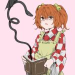 1girl apron bangs bell book bright_pupils character_name checkered checkered_kimono eyebrows_visible_through_hair fe_(tetsu) flat_chest frills hair_between_eyes hair_bobbles hair_intakes hair_ornament holding holding_book japanese_clothes jingle_bell kimono long_sleeves motoori_kosuzu open_book open_mouth orange_eyes orange_hair pink_background simple_background solo touhou two_side_up upper_body white_pupils wide_sleeves youkai