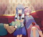 3girls aoi_(annbi) bangs black_hairband blouse blue_blouse blue_hair blue_skirt blurry bow bowtie breasts buttons closed_eyes closed_mouth collared_shirt commission couch crossed_arms depth_of_field eyeball feet_out_of_frame frilled_shirt_collar frills green_hair green_skirt hairband heart highres hinanawi_tenshi indoors komeiji_koishi komeiji_satori lap_pillow light_particles long_hair long_sleeves medium_breasts medium_hair multiple_girls no_hat no_headwear petticoat pillow pink_hair puffy_short_sleeves puffy_sleeves red_bow red_neckwear shirt short_hair short_sleeves siblings sisters sitting skeb_commission skirt sleeping sleeves_past_wrists small_breasts third_eye touhou very_long_hair wall wallpaper_(object) white_shirt wide_sleeves wing_collar yellow_blouse