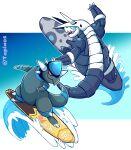 absurdres aggron gameplay_mechanics gen_3_pokemon gen_4_pokemon highres no_humans pokemon pokemon_(creature) rampardos surf_(pokemon) surfboard surfing taplaos twitter_username water