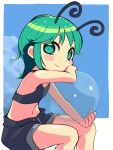 1girl alternate_costume antennae arm_up ball bangs bare_shoulders blue_background blue_shorts blush_stickers border closed_mouth eyebrows_behind_hair feet_out_of_frame flat_chest green_eyes green_hair hand_on_own_cheek hand_on_own_face highres holding holding_ball looking_at_viewer loose_pants midriff navel outside_border see-through short_hair shorts simple_background sitting smile solo touhou ugif white_border wriggle_nightbug