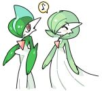 1boy 1girl ^_^ bangs blue_hair blush bob_cut closed_eyes closed_mouth colored_skin commentary_request flat_chest gallade gardevoir gen_3_pokemon gen_4_pokemon green_hair green_skin hair_over_one_eye happy looking_at_another looking_to_the_side lotosu multicolored multicolored_hair multicolored_skin musical_note partial_commentary pokemon pokemon_(creature) red_eyes shiny shiny_hair short_hair sketch smile speech_bubble spoken_musical_note standing two-tone_hair two-tone_skin walking white_skin