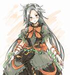1girl alternate_costume blush crown dress grey_eyes grey_hair himemushi_momoyo hisona_(suaritesumi) ribbon sketch solo touhou