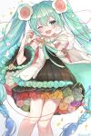 1girl absurdres aqua_flower aqua_rose black_dress black_skirt blue_flower blue_hair blue_rose braid cable cape commentary cowboy_shot detached_sleeves dress flower gradient_hair green_flower green_rose hair_flower hair_ornament hair_tie hatsune_miku highres light_blush long_hair looking_at_viewer magical_mirai_(vocaloid) medallion microphone miniskirt multicolored_hair noneon319 one_eye_closed open_mouth orange_flower orange_rose petals pink_flower pink_rose pleated_skirt purple_flower purple_rose rainbow red_flower red_rose rose skirt sleeveless sleeveless_dress smile solo twin_braids twintails twitter_username very_long_hair vocaloid white_background white_flower white_rose wide_sleeves yellow_flower yellow_rose