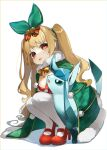 blonde_hair bow coat commission copyright_request covering earrings gen_4_pokemon glaceon highres jenkins_(azur_lane) jenkins_(light_of_the_holiest_star)_(azur_lane) jewelry long_hair red_eyes red_footwear reirou_(chokoonnpu) ribbon skeb_commission smile star_(symbol) star_earrings wavy_hair winter_clothes winter_coat