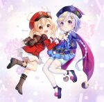 2girls :d ahoge aqua_shorts arvind backpack bag bag_charm bangs bead_necklace beads black_footwear bloomers bow braid cabbie_hat cape charm_(object) clover_print coat coin_hair_ornament commentary_request dodoco_(genshin_impact) earrings eyebrows_visible_through_hair genshin_impact hair_between_eyes hair_bow hair_ribbon hat hat_feather hat_ornament highres holding_hands interlocked_fingers jewelry jiangshi klee_(genshin_impact) light_brown_hair long_hair long_sleeves looking_at_viewer low_ponytail low_twintails multiple_girls necklace ofuda open_mouth orange_eyes orb pocket pointy_ears purple_hair qing_guanmao qiqi_(genshin_impact) randoseru red_coat red_headwear ribbon shorts sidelocks single_braid smile thigh-highs twintails twitter_username underwear violet_eyes white_legwear wide_sleeves yin_yang yin_yang_orb zettai_ryouiki