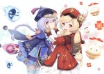 2girls :d absurdres ahoge backpack bag bag_charm bandaged_leg bandages bangs bead_necklace beads bent_over braid brown_gloves brown_scarf cabbie_hat cape charm_(object) clover_print coat coin_hair_ornament commentary_request dodoco_(genshin_impact) eyebrows_visible_through_hair from_side genshin_impact gloves hair_between_eyes hands_on_another's_cheeks hands_on_another's_face hat hat_feather hat_ornament highres hooded_coat jewelry jiangshi jumpy_dumpty klee_(genshin_impact) light_brown_hair long_hair long_sleeves looking_at_viewer looking_to_the_side low_ponytail low_twintails multiple_girls necklace ofuda open_mouth orange_eyes orb parted_lips pocket pointing purple_hair qing_guanmao qiqi_(genshin_impact) randoseru red_coat red_headwear scarf sidelocks simple_background single_braid smile thigh-highs twintails violet_eyes white_background white_legwear wide_sleeves yin_yang yin_yang_orb yu_e_baba zettai_ryouiki