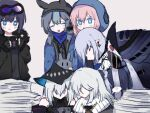 6+girls ? andreana_(arknights) arknights bare_shoulders black_cape black_headwear black_jacket blue_eyes blue_hair blue_jacket blue_poison_(arknights) cape commentary cup earrings fur-trimmed_jacket fur_trim gladiia_(arknights) glaucus_(arknights) hat holding holding_cup holding_phone hood hooded_jacket jacket jewelry looking_at_phone lowres multiple_girls necklace open_clothes open_jacket papers phone pink_hair pointy_ears purple_hair silver_hair simple_background skadi_(arknights) specter_(arknights) spoken_question_mark zhu_mianzi