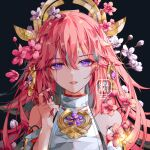 1girl bare_shoulders commentary dark_background detached_sleeves flower genshin_impact hair_between_eyes hair_flower hair_ornament hand_up long_hair looking_at_viewer parted_lips pink_flower pink_hair portrait red_lips simple_background solo violet_eyes white_flower yae_(genshin_impact) yeurei