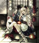 1girl :o ahoge animal_ears bangs blonde_hair bow cat_ears commentary eyebrows_visible_through_hair fan gloves green_eyes highres holding japanese_clothes kimono kneehighs knees_together_feet_apart long_hair long_sleeves looking_at_viewer ma_yoyo no_shoes open_mouth original paw_gloves paws shrine sidelocks solo symbol_commentary tabi tail tail_bow tail_ornament white_kimono white_legwear wide_sleeves