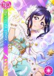 angel blue_hair blush character_name dress long_hair love_live!_school_idol_festival love_live!_sunshine!! matsuura_kanan ponytail violet_eyes wings