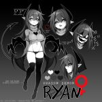 ! 1girl artist_name black_background black_hair black_sclera breasts character_name character_sheet claws colored_sclera colored_skin cropped_sweater demon_girl demon_horns demon_tail english_commentary english_text eyebrows_visible_through_hair full_body glowing glowing_eyes gradient gradient_background grey_background grey_eyes grey_skin hair_between_eyes heart highres horns large_breasts long_hair multiple_views navel open_mouth original palette_(object) panties pointy_ears ryan_(iryanic) shaded_face simple_background sweatdrop tail teeth thigh-highs totallyiryanic under_boob underwear very_long_hair watermark