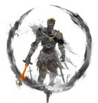1other armor dark_souls_iii facing_viewer field_of_blades full_armor gauntlets greaves helmet highres holding holding_sword holding_weapon pauldrons planted planted_sword shimhaq shoulder_armor solo soul_of_cinder souls_(series) standing sword waist_cape weapon