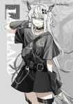 1girl alternate_costume animal_ears arknights bag belt black_belt black_choker black_nails black_shirt black_skirt black_sleeves character_name choker collarbone commentary cowboy_shot cross cross_necklace detached_sleeves grey_background grey_eyes grey_hair grin hair_ornament hairclip hand_up jewelry lappland_(arknights) looking_at_viewer nail_polish necklace red_(girllove) shirt short_hair shoulder_bag skirt skull_ring smile solo tail thigh_strap twitter_username wolf_ears wolf_girl wolf_tail zoom_layer