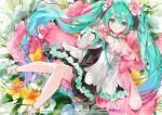 1girl bangs blue_eyes blue_hair dsmile flower hair_between_eyes hair_flower hair_ornament hatsune_miku long_hair long_sleeves looking_at_viewer magical_mirai_(vocaloid) parted_lips ribbon shoes sleeves_past_wrists socks solo twintails very_long_hair vocaloid