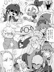 4girls 6+girls :< ? allister_(pokemon) bangs bea_(pokemon) bede_(pokemon) bewear cape chouonsoku-jiisan closed_mouth crying facial_hair flying_sweatdrops fur_trim gen_7_pokemon gym_leader hair_ornament hat heart heart_hair_ornament highres hop_(pokemon) leon_(pokemon) long_hair multiple_boys multiple_girls oleana_(pokemon) opal_(pokemon) pointing pointing_at_self pokemon pokemon_(creature) pokemon_(game) pokemon_swsh raihan_(pokemon) rose_(pokemon) short_hair side_ponytail sonia_(pokemon) sweat tears translation_request
