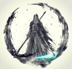 1girl ashes_of_ariandel cape closed_mouth commentary dark_souls_iii dress english_commentary facing_viewer habit highres holding holding_scythe holding_weapon hood hood_up nun scythe shimhaq sister_friede solo souls_(series) weapon