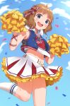 1girl :d absurdres ahoge blue_bow blue_eyes blue_jacket blue_sky blush bow brown_hair cheerleader confetti cropped_shirt day feet_out_of_frame hair_bow highres holding holding_pom_poms idolmaster idolmaster_million_live! idolmaster_million_live!_theater_days inuyama_nanami jacket jersey looking_at_viewer medium_hair midriff miniskirt multicolored_bow navel open_clothes open_jacket open_mouth outdoors pleated_skirt pom_pom_(cheerleading) red_bow round_teeth skirt sky sleeveless sleeveless_jacket smile socks solo standing standing_on_one_leg striped striped_bow suou_momoko teeth upper_teeth white_legwear