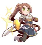 1girl armor bangs black_legwear blue_skirt blush boots breastplate brown_gloves brown_hair closed_mouth commentary_request copyright_request earrings eyebrows_visible_through_hair full_body gloves green_eyes grey_shirt highres holding holding_sword holding_weapon jewelry layered_sleeves long_hair long_sleeves looking_at_viewer naga_u pantyhose pauldrons pleated_skirt ponytail puffy_short_sleeves puffy_sleeves sheath shirt short_over_long_sleeves short_sleeves shoulder_armor simple_background single_pauldron skirt solo sparkle swept_bangs sword unsheathed v-shaped_eyebrows very_long_hair weapon white_background white_footwear