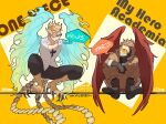 2boys bird_legs bird_tail bird_wings blonde_hair blue_fire boku_no_hero_academia boots character_name chest_tattoo closed_eyes copyright_name crossover emase_(foxmoon) facing_another fire full_body glasses gloves goggles hawks_(boku_no_hero_academia) height_difference jacket long_sleeves male_focus marco_(one_piece) multiple_boys one_piece orange_hair pants phoenix_wings shirt short_hair smile squatting tail talons tattoo trait_connection winged_arms wings