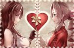 2girls :d aerith_gainsborough bangs breasts final_fantasy final_fantasy_vii final_fantasy_vii_remake flower from_side green_eyes hair_ribbon heart highres jacket large_breasts long_hair mirrorclew multiple_girls open_mouth pink_ribbon red_eyes red_jacket ribbon smile tank_top tifa_lockhart upper_body white_tank_top