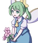 1girl absurdres blue_dress bow collared_shirt daiyousei dress fairy_wings flower green_hair hair_bow highres holding holding_flower kame_(kamepan44231) long_hair shirt short_sleeves side_ponytail simple_background smile touhou white_background white_shirt wings yellow_bow