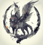 chimera closed_mouth dark_souls_i full_body glowing glowing_eyes grey_background highres lion monster no_humans sanctuary_guardian shimhaq souls_(series) spot_color wings