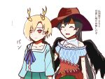 2girls ^_^ antlers bandana bangs bare_shoulders black_hair black_wings blonde_hair blue_skirt blush_stickers breasts brown_headwear closed_eyes closed_mouth commentary_request cowboy_hat dragon_horns dragon_tail expressionless eyebrows_behind_hair feathered_wings hat highres horns kicchou_yachie kurokoma_saki long_hair long_sleeves looking_ahead multiple_girls off-shoulder_shirt off_shoulder open_mouth pegasus_wings pleated_skirt ponytail red_eyes shirt short_hair short_sleeves simple_background sketch skirt small_breasts smile tail tengu_s_note touhou turtle_shell upper_body very_long_hair white_background wings