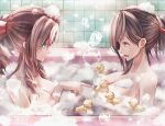 2girls aerith_gainsborough alternate_hairstyle aqua_eyes bangs bath breasts bubble bubble_bath collarbone final_fantasy final_fantasy_vii final_fantasy_vii_remake foam from_side hair_ribbon hair_up large_breasts long_hair mirrorclew multiple_girls open_mouth pointing red_eyes ribbon rubber_duck tifa_lockhart